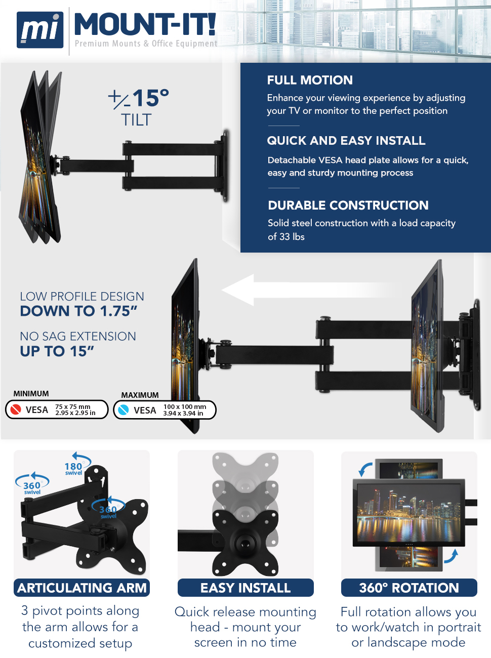 TV Wall Mount Universal Fit 19 20 24 27 32 34 37 40 inch TVs Computer Monitors