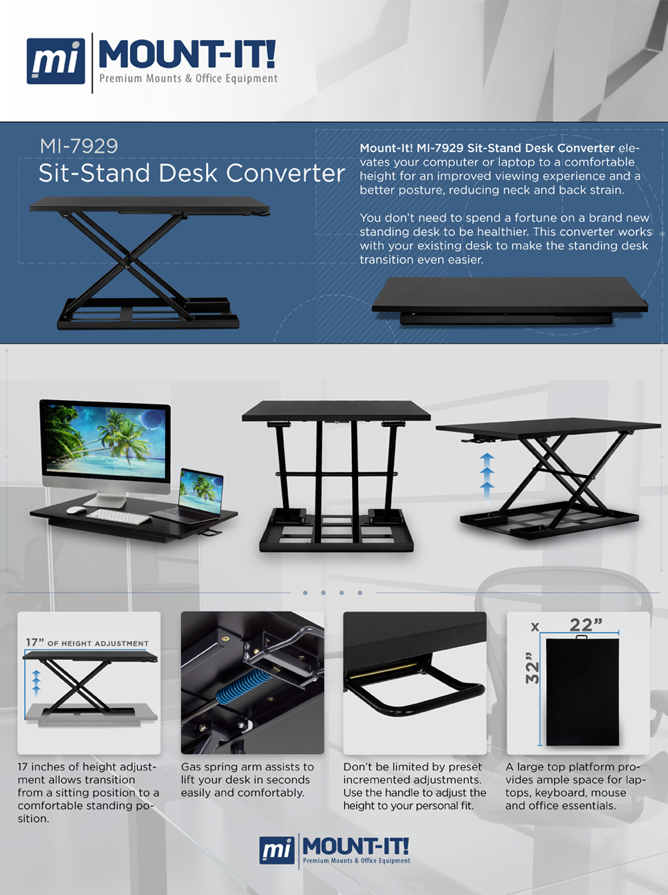 mountit ergonomic height adjustable standing desk standup desk converter holds up to 20 pounds large surface