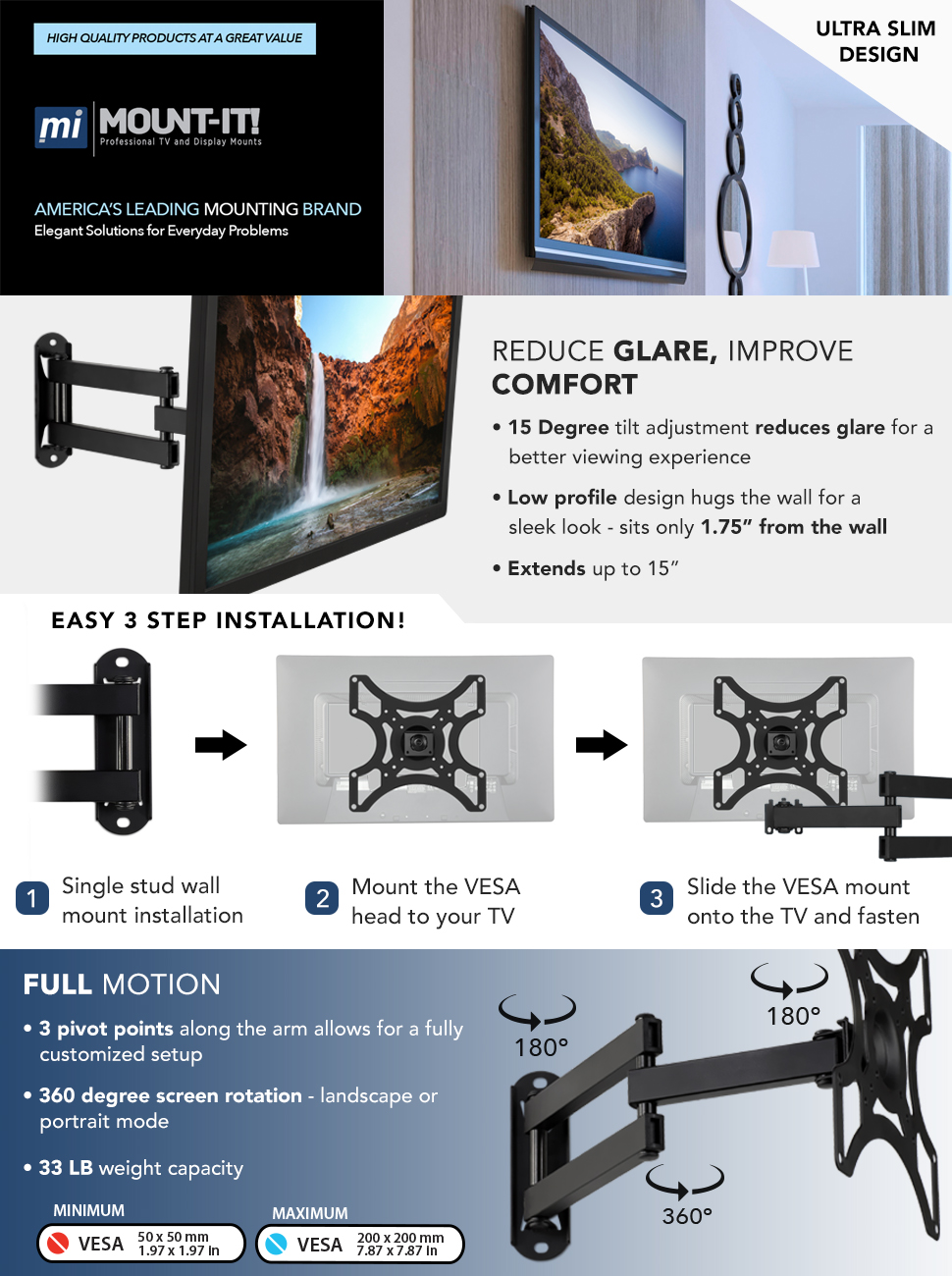 Amazon Com Mount It Tv Wall Mount Bracket With Full Motion Arm Fits 13 42 Flat Screen Tvs Vesa 75 100 200 55lb Weight Capacity With 15 Extension Home Audio Theater