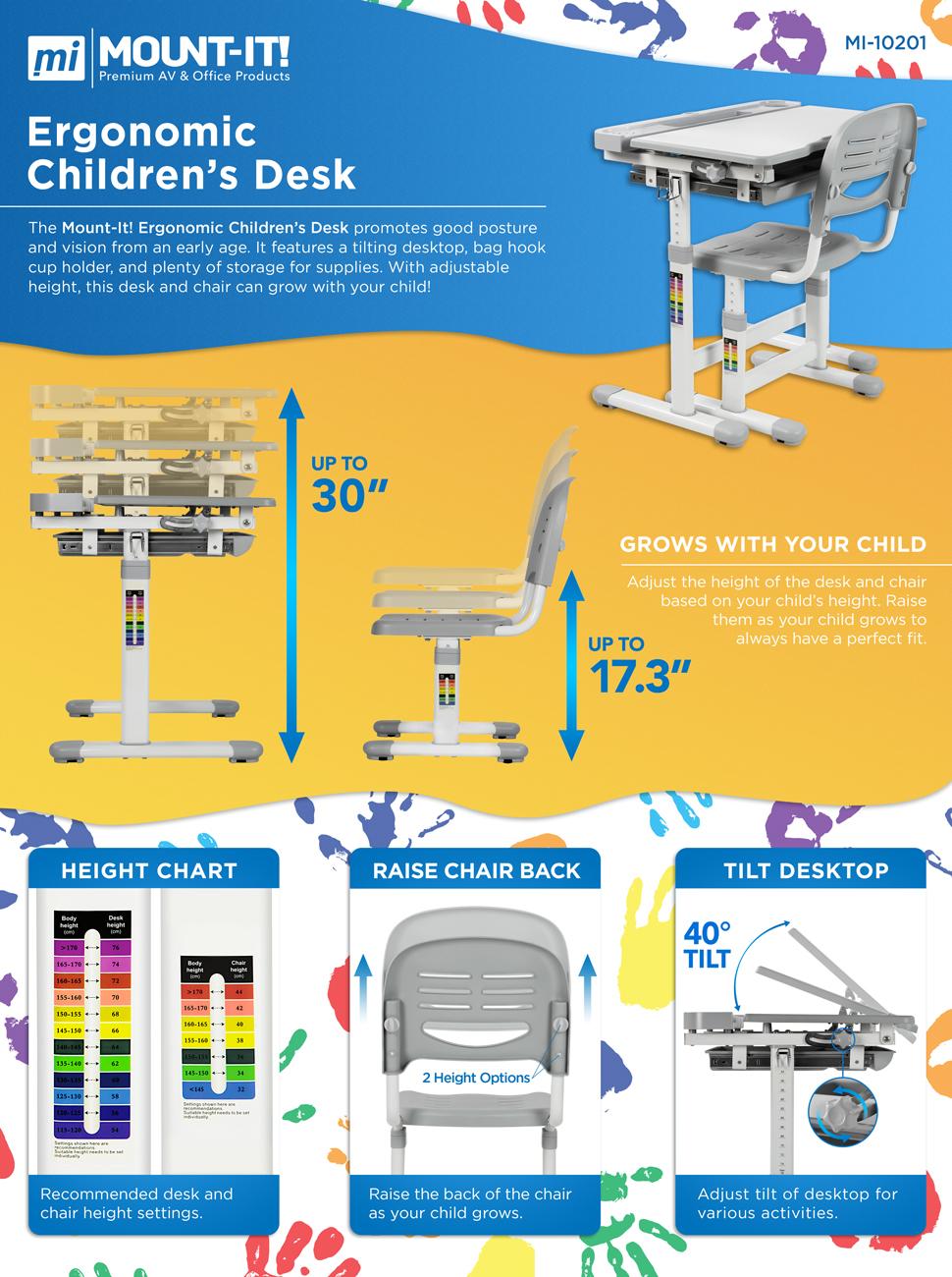 Kids Interactive Workstation for Bedrooms Children Desk and Chair Set Adjustable Height Large Drawers Storage /& Ergonomic Backrest Chair Kids Study Table with Tilted Desktop School Kindergarten