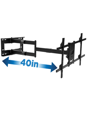 Long Arm TV Mount, Full Motion Wall Bracket with 40 inch Extended Articulating Arm