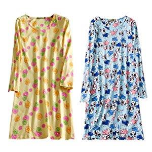 204ca3096c ENJOYNIGHT Women s Cotton Sleepwear Long Sleeves Nightgown Print Tee Sleep  Dress
