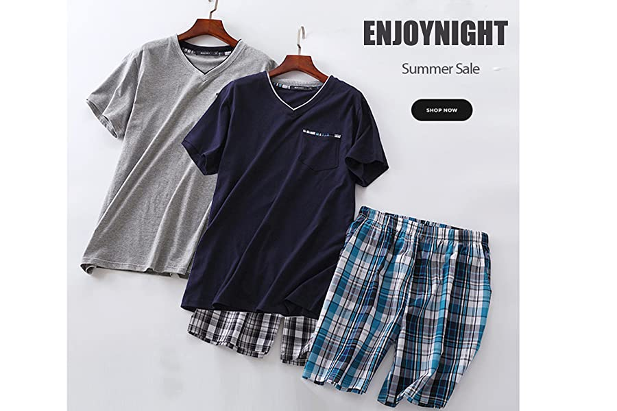 c6cc8d8cb2f ENJOYNIGHT Men s Summer Short Sleeve Pajamas Adult Casual Shorts ...