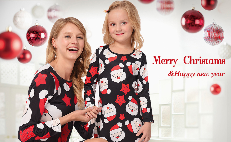 Careful Hot Sell Children Girls Mother And Daughter Xmax Swing Long Sleeve Round Collar Dress Christmas Black Santa Matching Family Outfits