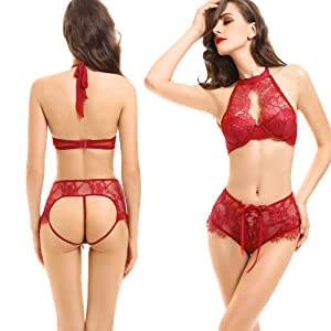 22d087727c NORA TWIPS Women s Sexy Lingerie Babydoll High Neck Halter Strappy Lace Bra  and Panty Set WINE RED