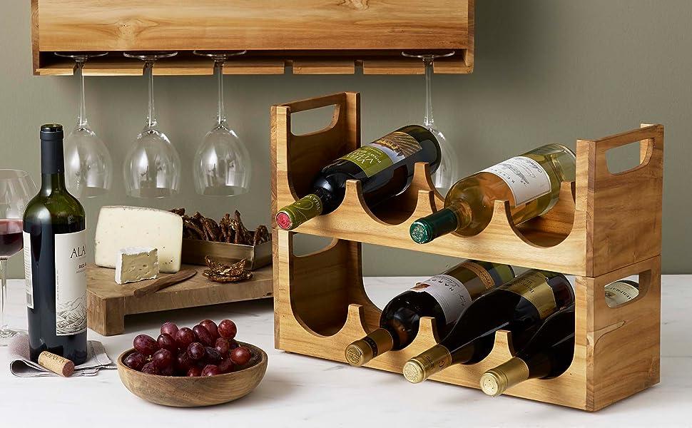 Design Ideas Takara Wine Rack Stackable Natural Teak Wood Bottle Holder with Handles Holds 4 Bottles