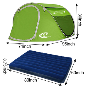 this pop up tent size 95 x 71 x 39 inches it is suitable for the queen size inchl x w x h