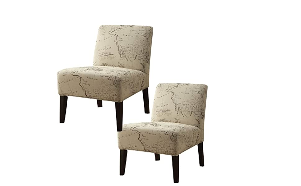 Amazon.com: Home Square (Set of 2) Fabric and Espresso Accent Chair ...