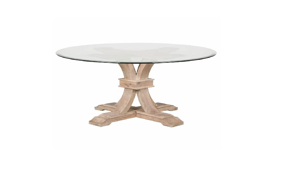 Transitional Style Dining Table Featuring Round Glass Top And Single  Pedestal Base.