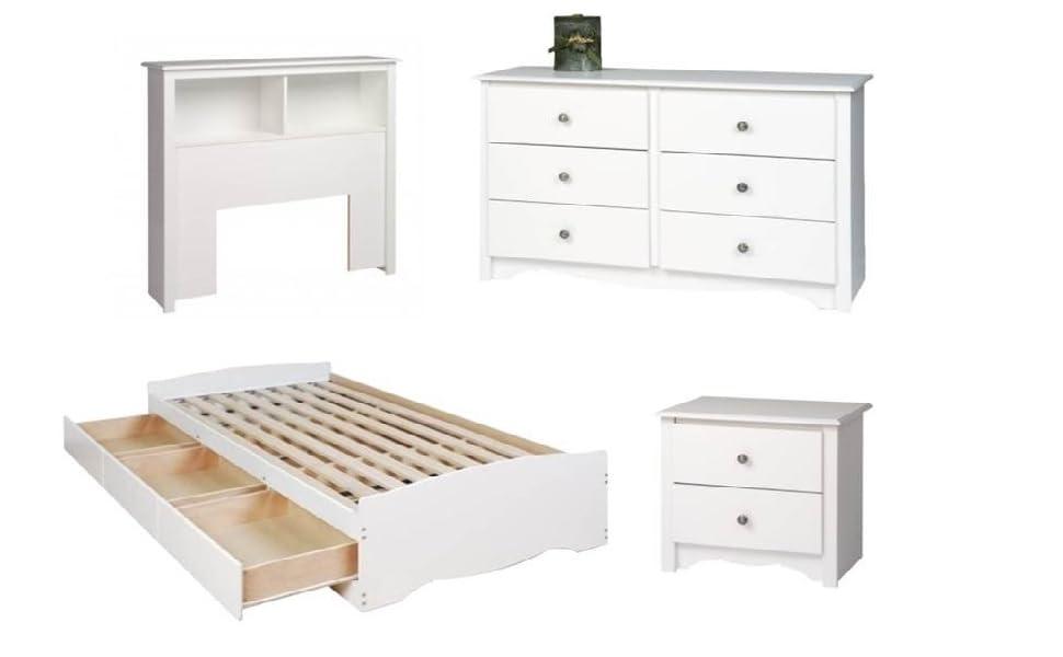 Amazon Com 4 Piece Kids Bedroom Set With Bed Headboard Dresser