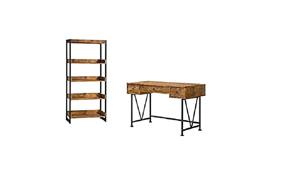 Astounding Amazon Com 2 Piece Rustic Desk And Bookshelf Set Kitchen Download Free Architecture Designs Scobabritishbridgeorg