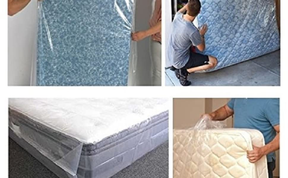 """78/"""" X 96/"""" Plastic Mattress Bag Storage Moving Queen King Bed Cover Free Ship NEW"""
