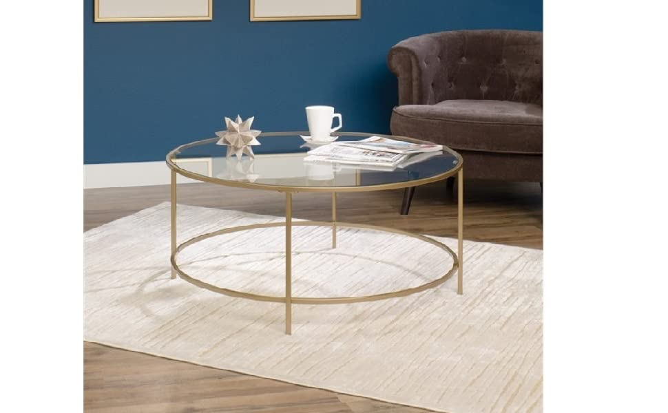 Amazon Com Pemberly Row Round Coffee Table In Satin Gold Kitchen
