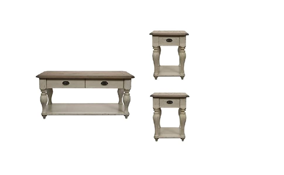 Amazon Com Home Square 3 Piece Farmhouse Coffee And End Table Set