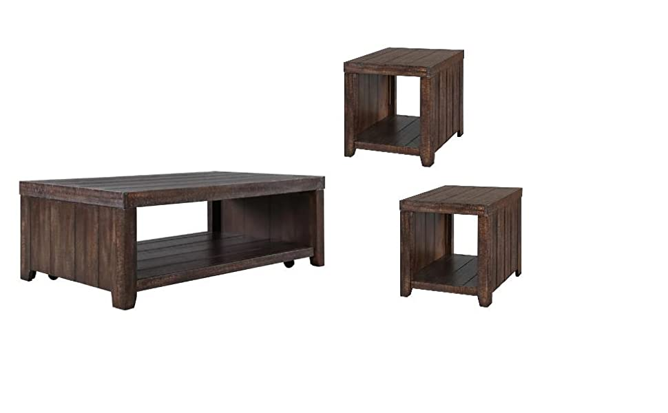 Amazon Com Home Square 3 Piece Farmhouse Coffee And End Table Set