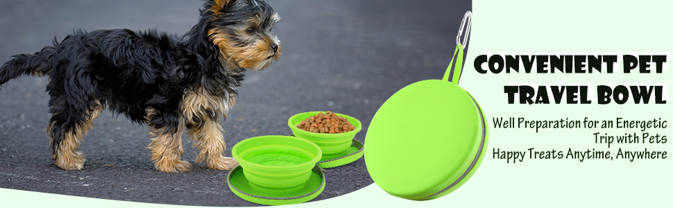 Portable Pet Watering Dish for Traveling Foldable Expandable Silicone Feeding Bowl for Cat Hiking PAWABOO Collapsible Dog Travel Bowls Camping Walking