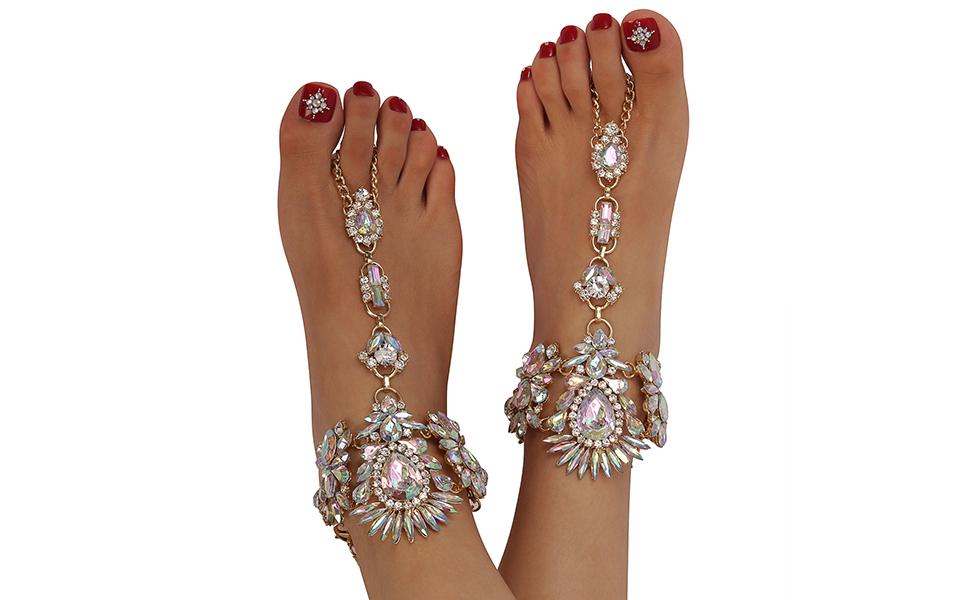 330e209134e73 Amazon.com  Holylove Foot Jewelry for Women Barefoot Sandals Beach ...