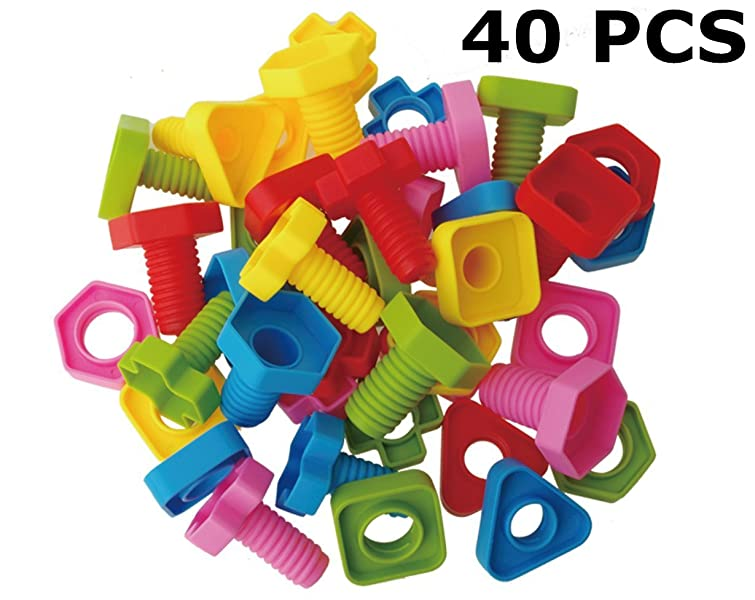 Amazon jumbo nuts and bolts set with toy storage and book rainbow toyfrog jumbo nuts and bolts set with tote 40 pcs occupational therapy pattern card included matching fine motor toy for toddlers preschoolers fandeluxe Images