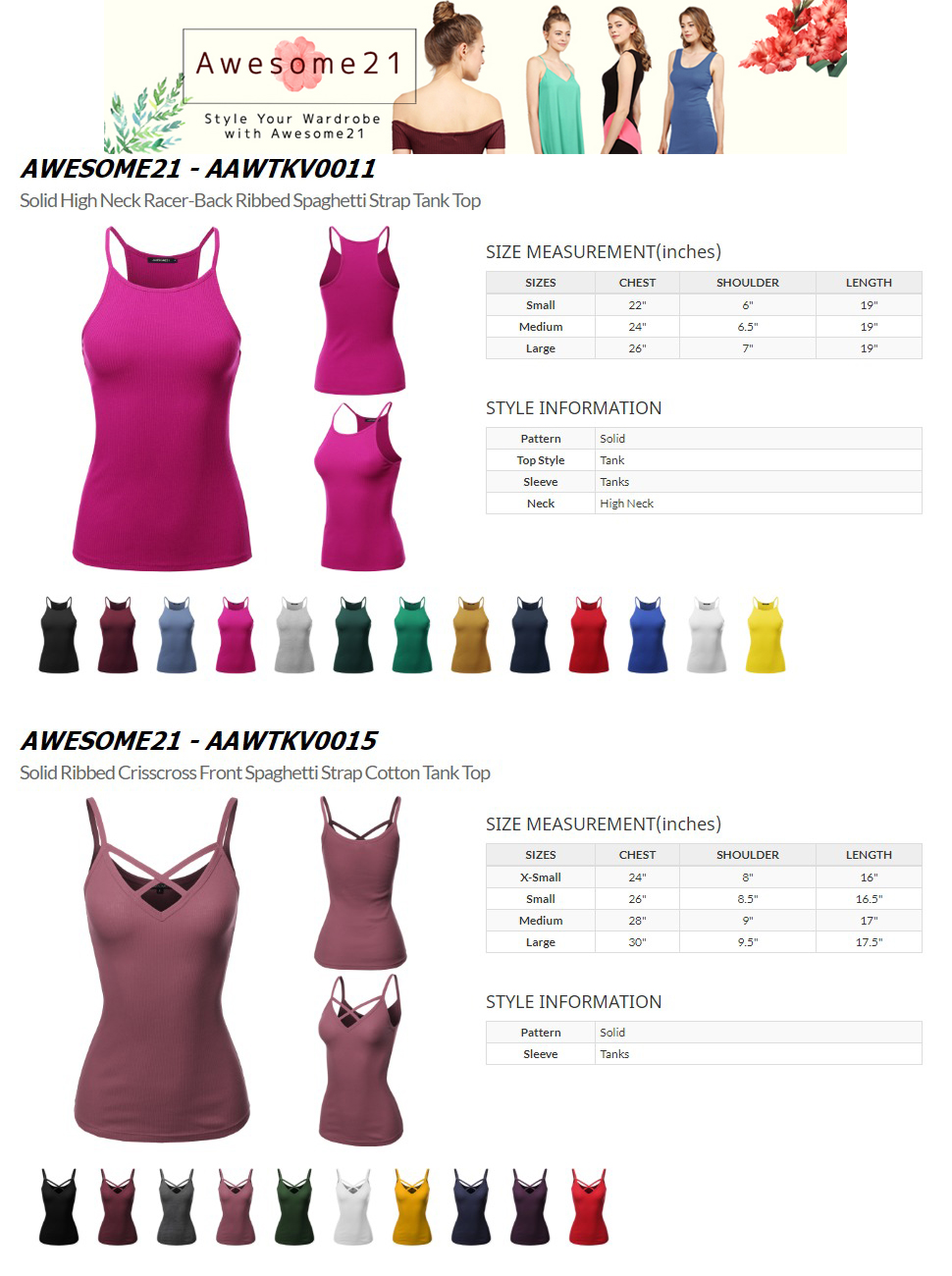 a6a1667253 Awesome21 Women's Solid High Neck Racer-Back Ribbed Spaghetti Strap Tank Top.  Description. AAWTKV0011 AAWTKV0015. Awesome21