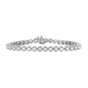4 cttw Certified Diamond Tennis Bracelet 14K White Gold I1-I2 Clarity