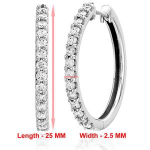 1 cttw 10K White Gold Diamond Hoop Earrings 1 Inch