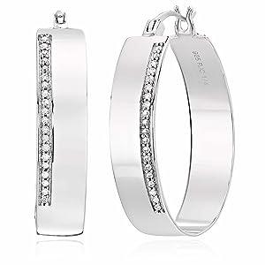 1/4 CT Diamond Hoop Earrings in .925 Sterling Silver