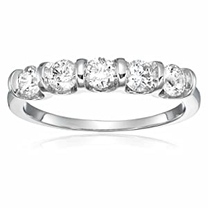1 CT AGS Certified I1-I2 5 Stone Channel Set Ring 14K White Gold