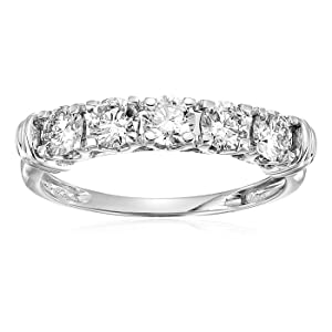 1 cttw AGS Certified SI-I1 5 Stone Diamond Ring 14K White Gold
