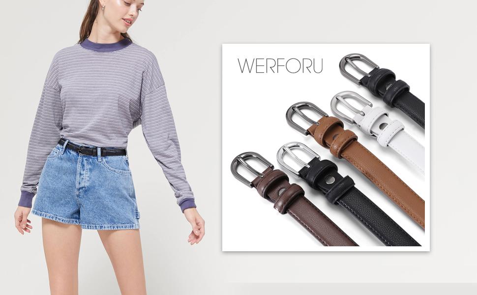 women skinny leather belt for jeans