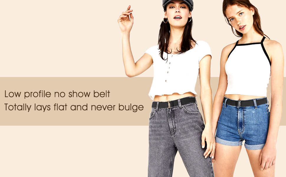 a45514e435 Amazon.com  No Show Women Stretch Belt Invisible Elastic Web Strap ...