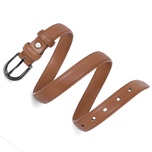 women thin leather belt brown
