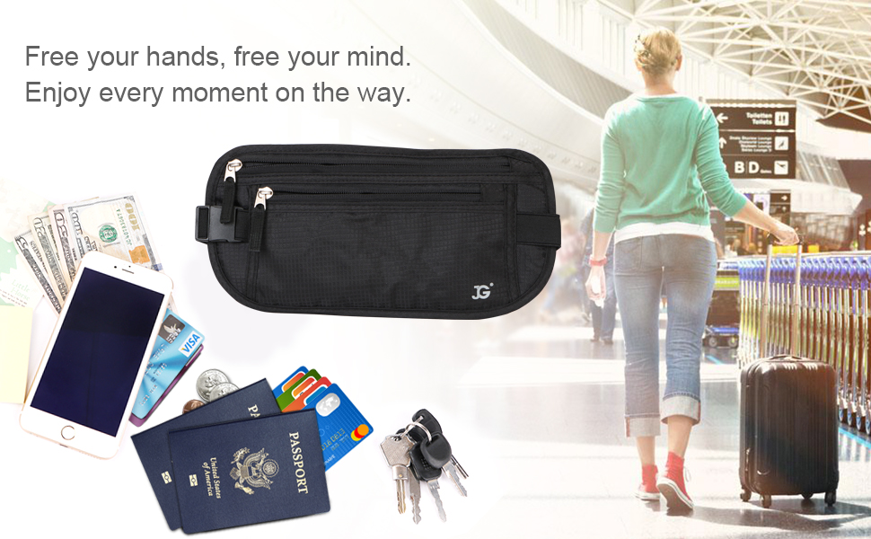Travel Money Belt with built-in RFID Block - Includes Theft Protection