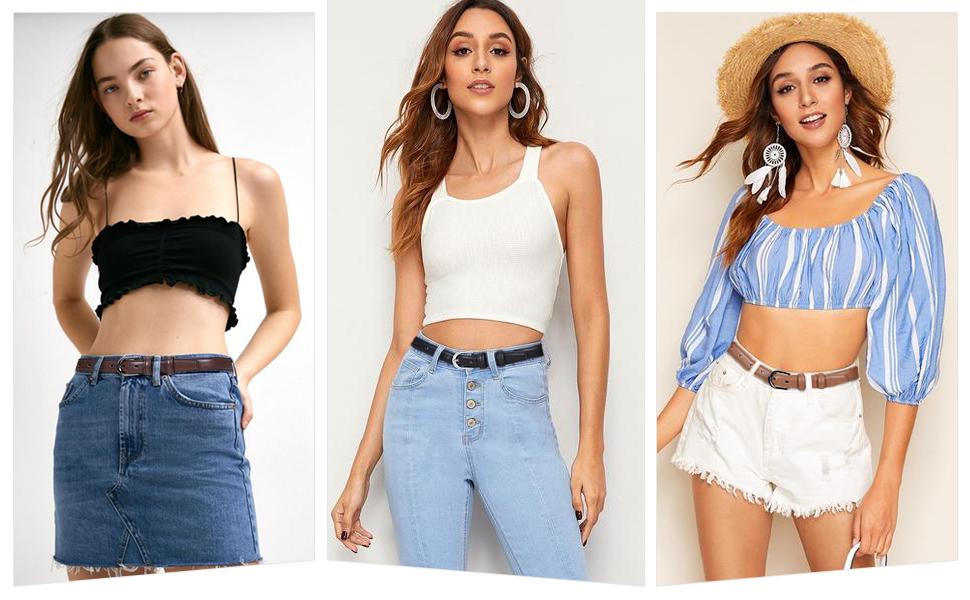 ladies skinny waist belt leather