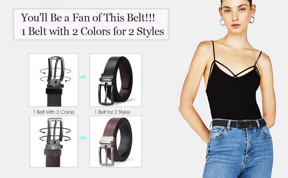 Women Leather Reversible Belt Ladies Belt for Jeans with Rotated Buckle