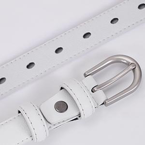 white skinny leather waist belt