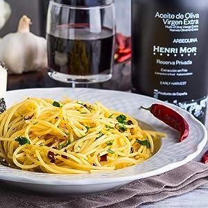 Henri Mor, Private Reserve, Arbequina, DOP, GMO free, extra virgin, olive oil, Spain, pasta, wine