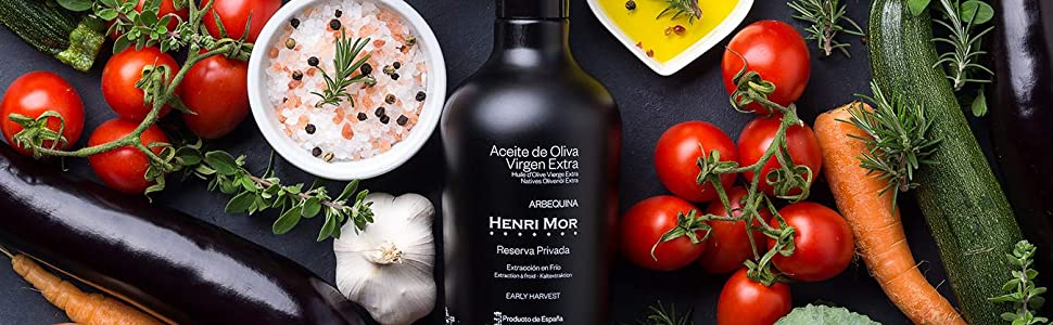 Henri Mor, Private Reserve, Arbequina, DOP, GMO free, extra virgin, olive oil, Spain, tomato, squash