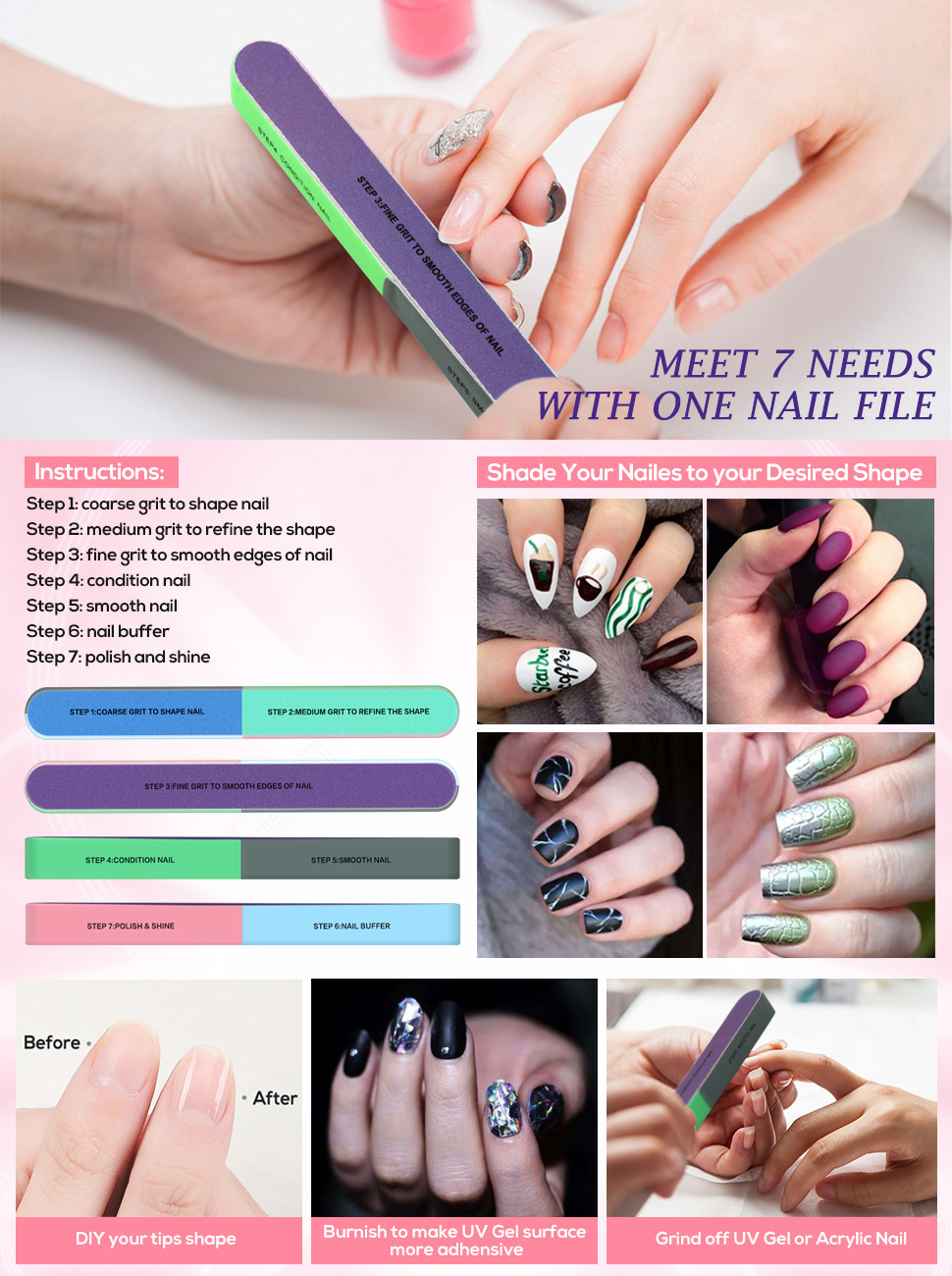 Amazon.com : Nail File and Nail Buffer Cosmetic Manicure, 10 PACK 7 ...