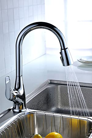 Kitchen Sink Shower Purelux tulip kitchen sink faucet with pull down sprayer deck plate this beautiful streamlined tulip faucet will instantly give your kitchen an upgraded modern look its functions and features turn the chore of washing workwithnaturefo