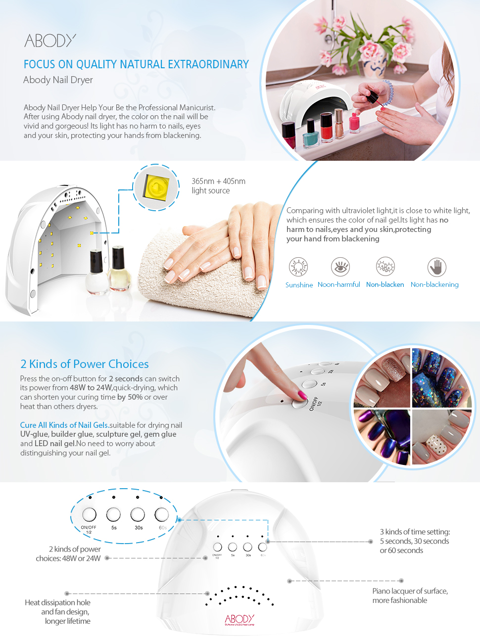 Amazon.com : Abody Nail Dryer, SUNone 48W - 24W Nail Dryer, LED UV ...
