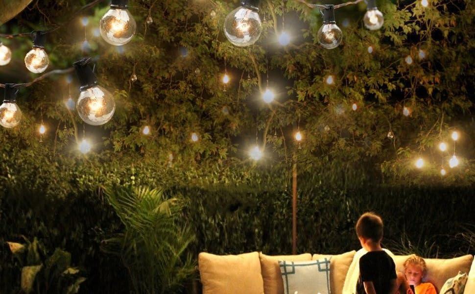 Outdoor globe bulbs string lights Edison Style G40 25Ft - Amazon.com : Outdoor String Light, G40 25Ft Globe Bulbs Edison Style