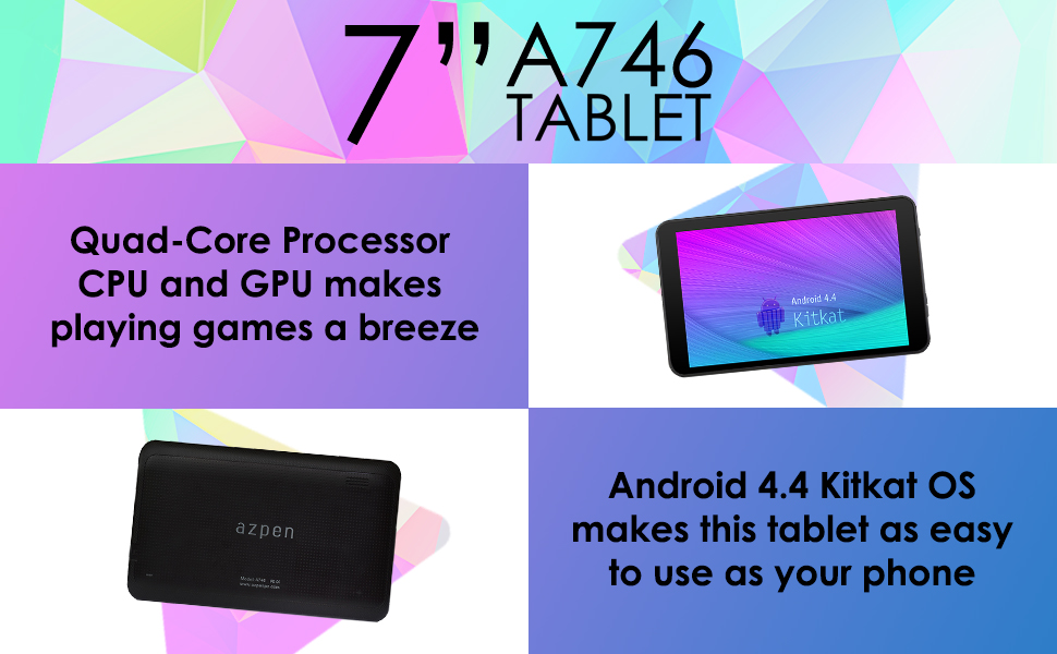 Azpen 7 inch Quad Core Android 6 0 Marshmallow Tablet HD LCD 1GB RAM 8GB  Storage Bluetooth eBook Game Google Play