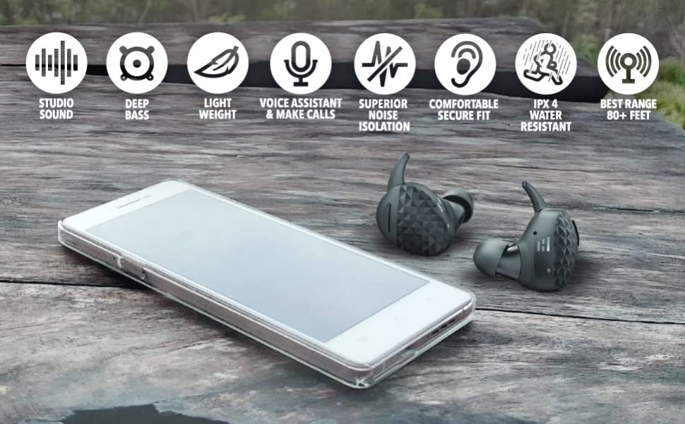 Helm True Wireless Headphones, Earbuds/Earphones, Recharge up to 5X  w/Charging Case, Unparalleled Audiophile Sound & Deep Bass, Comfort Secure  Fit,