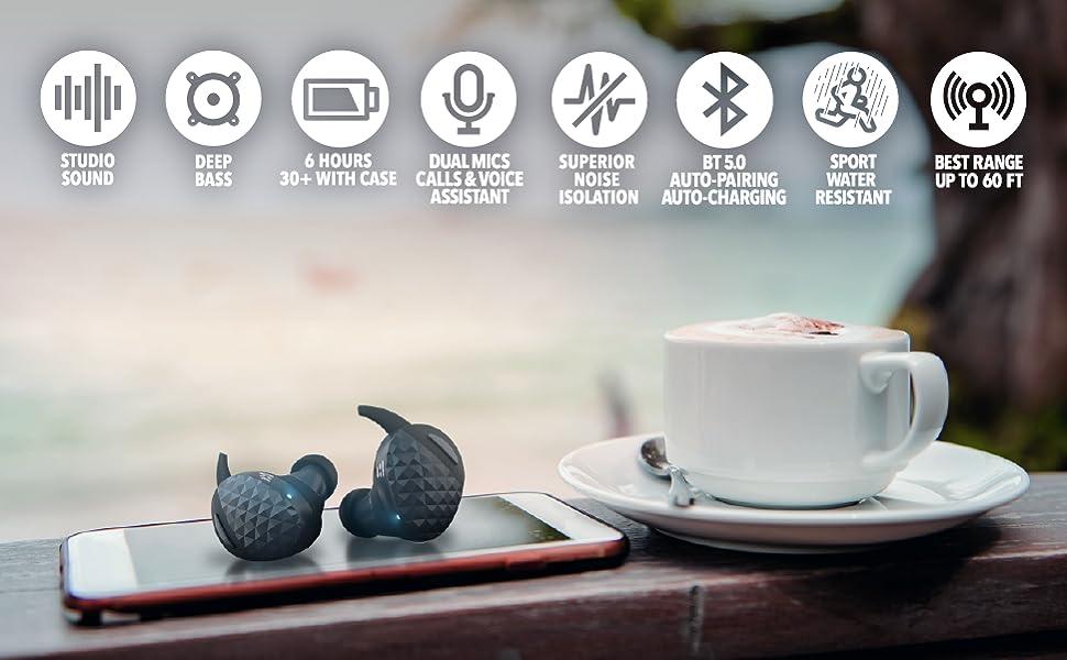 HELM True Wireless Bluetooth 5 0 Headphones, Earbuds, Audiophile HiFi  Sound, Qualcomm aptX, Comfort Secure Fit, Sport Sweatproof, 6 Hrs Play Time  +30