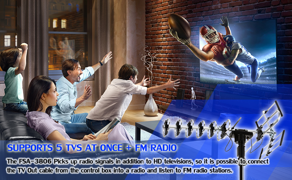 SUPPORTS 5 TVS AT ONCE + FM RADIO