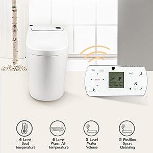 EUROTO EUT3828 One-Piece Dual Flush Toilet with Integrated Bidet, Integrated Bidet and Toilet
