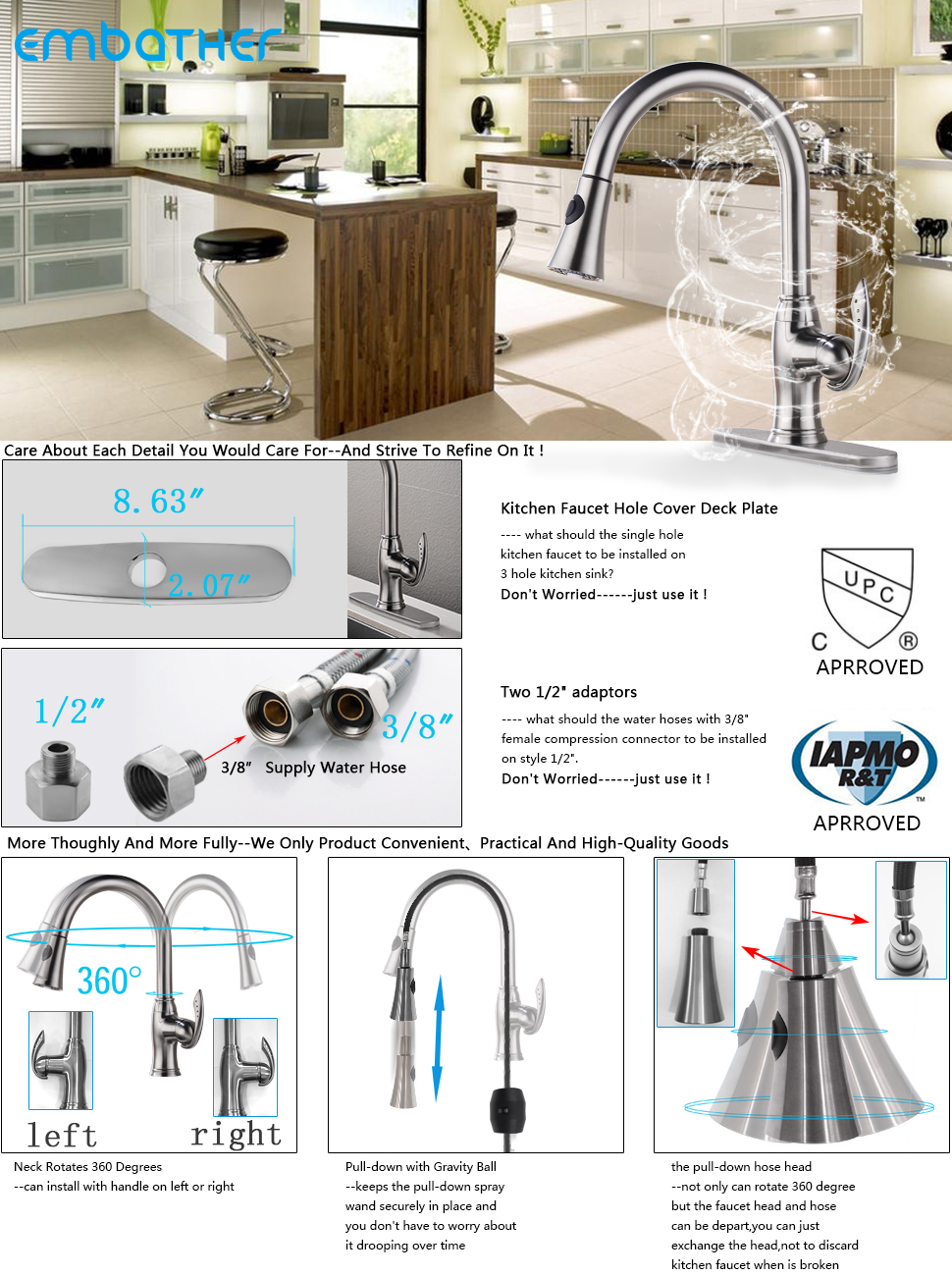 EMBATHRER Brass Kitchen Faucet, Single Handle Pull-Down with Gravity ...