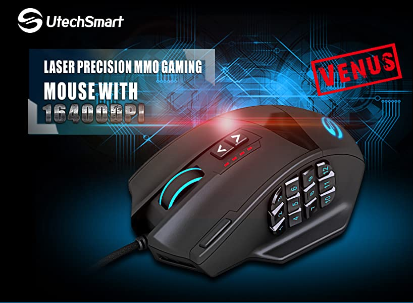 best computer gaming mouse-Gaming Mouse, UtechSmart Venus 16400 DPI
