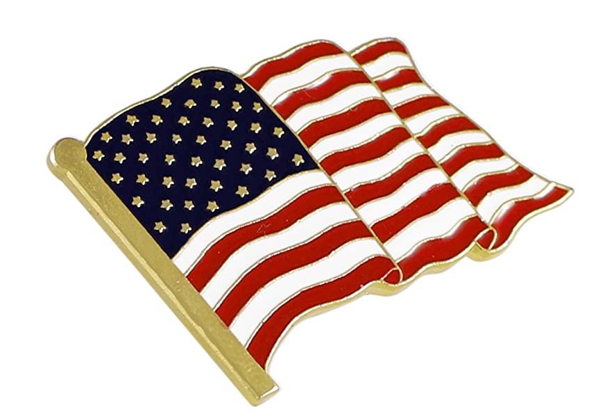 AMERICAN FLAG IN THE WIND LAPEL PIN