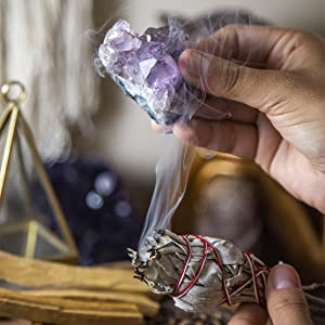 smudging smudge stick healing crystals california white sage palo santo amethyst crystal